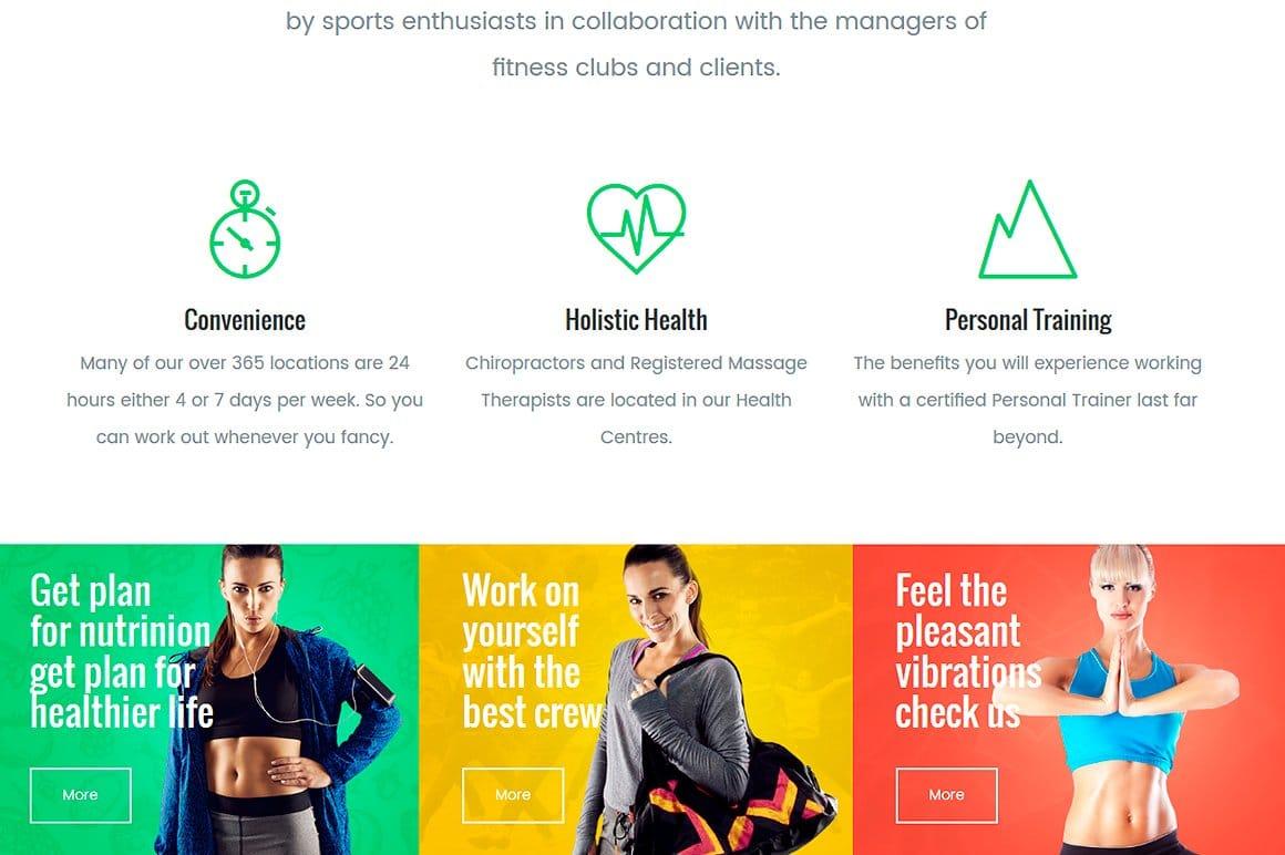 Fitness WordPress theme - demo page screenshot