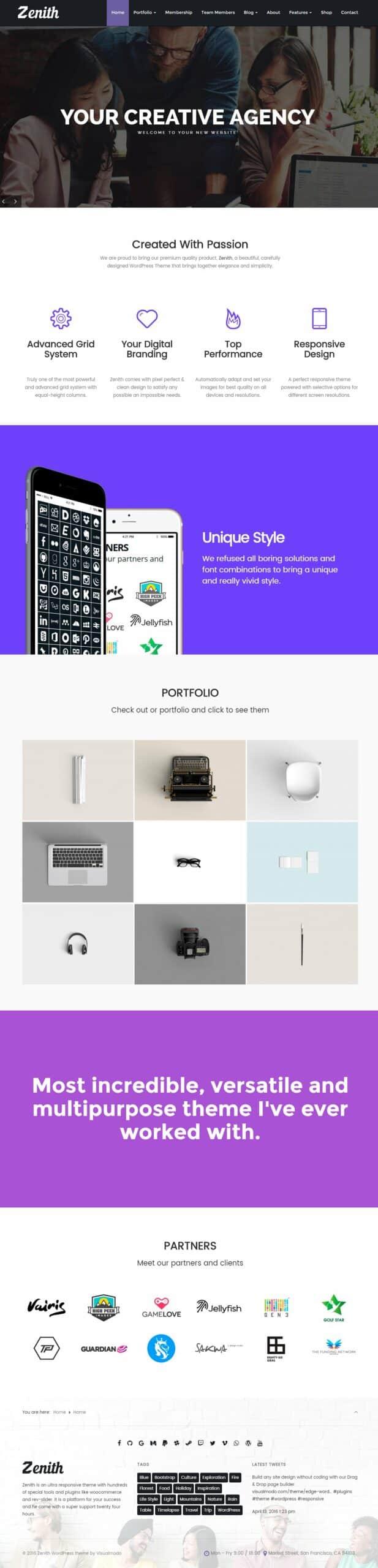Zenith WordPress Theme - Responsive Portfolio Template