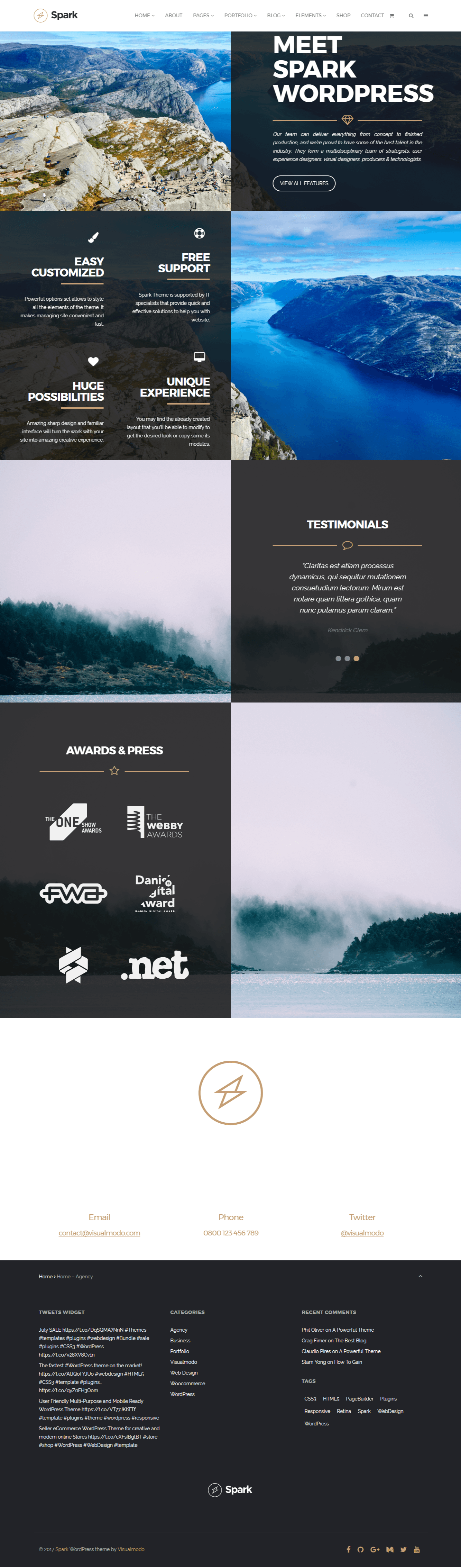 Spark WordPress theme screenshots print screens