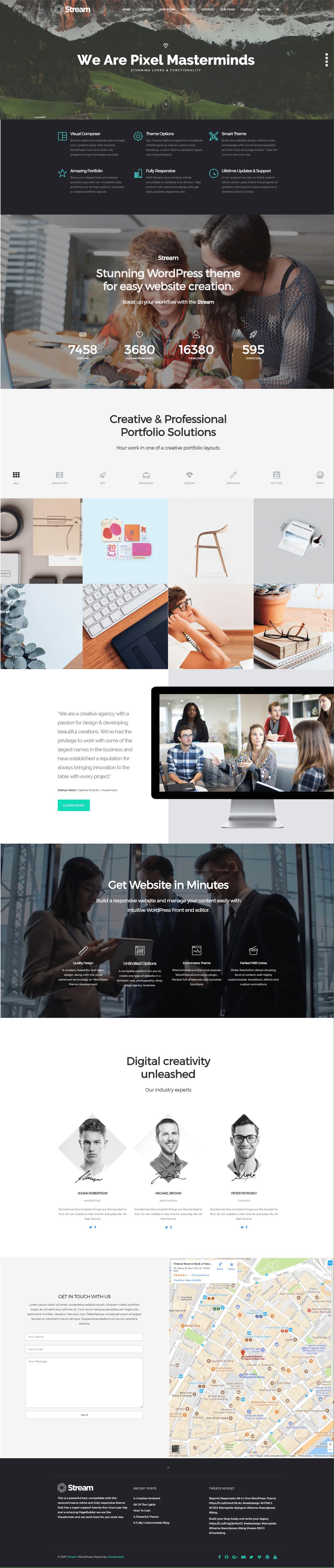 Stream WordPress theme Screenshots from demonstrative landing pages