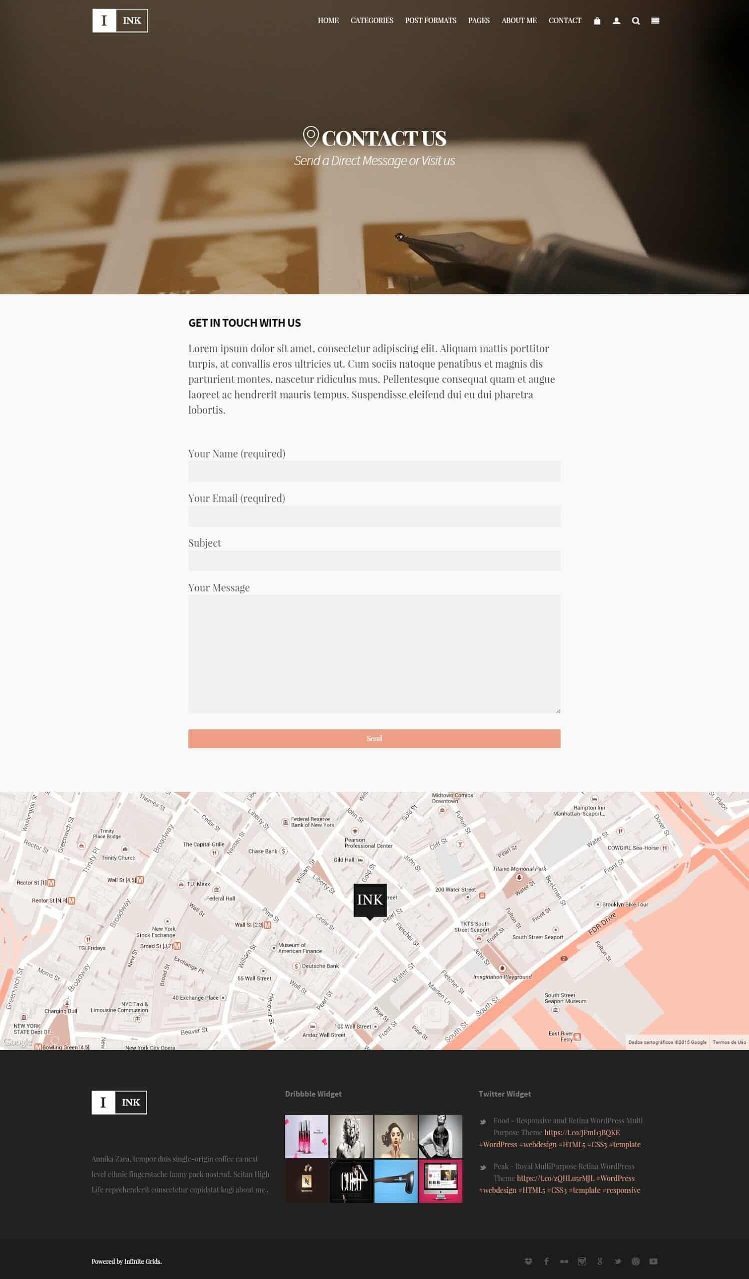 Ink WordPress Theme Blog Screenshots from demonstrative page
