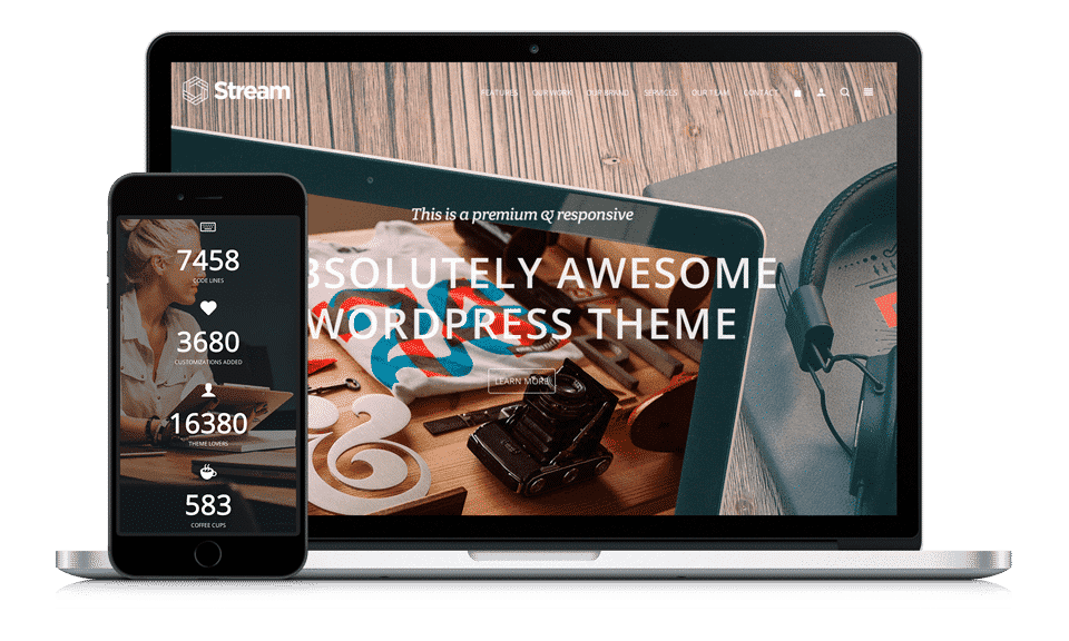 Stream WordPress Theme One Page Responsive Template by Visualmodo