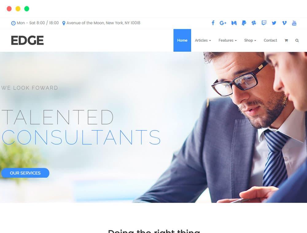 Edge WordPress theme business responsive template by Visualmodo