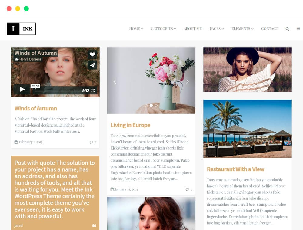 Ink WordPress Theme Blog Minimalist Responsive Template