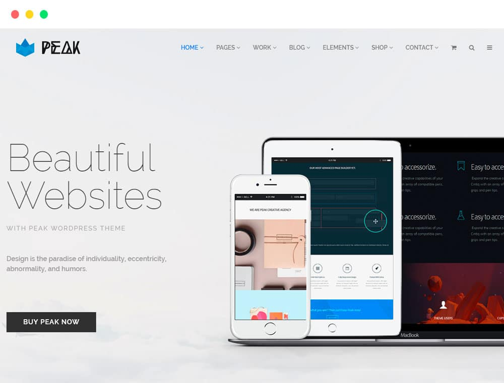 Peak WordPress Theme Responsive Multi-Purpose Retina Template