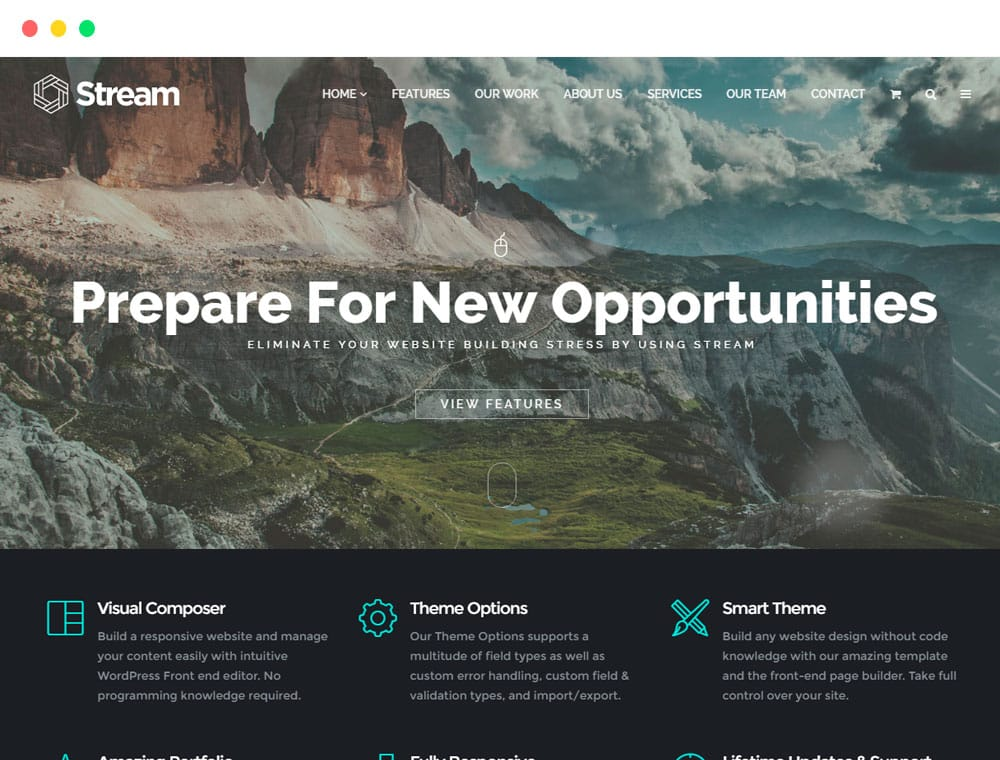 Stream WordPress Theme One Page Template and landing page