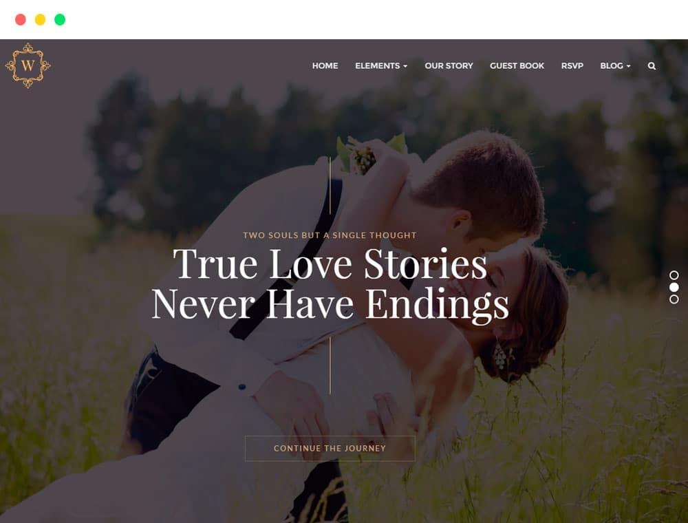 Wedding WordPress theme responsive events templates by Visualmodo