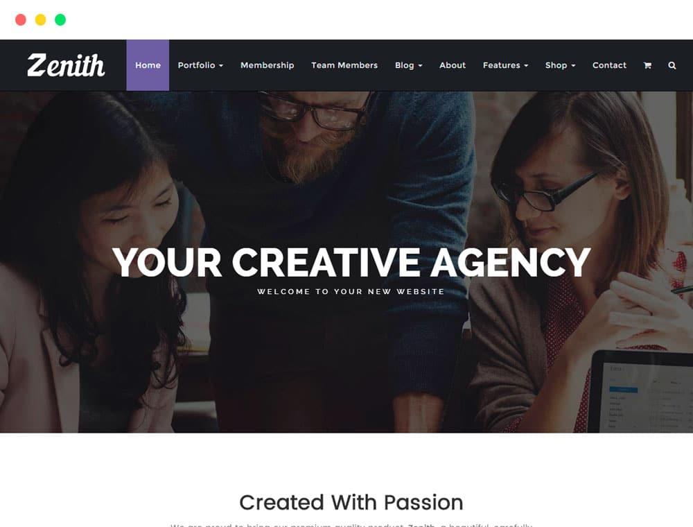 Zenith WordPress Theme Responsive Portfolio Template