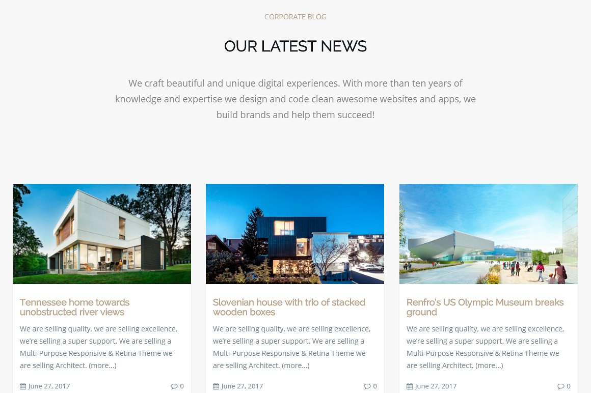 Architect WordPress Theme Screenshots