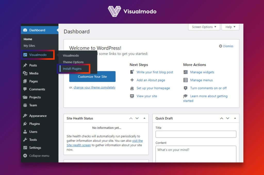 Visualmodo WordPress Themes upload install plugins
