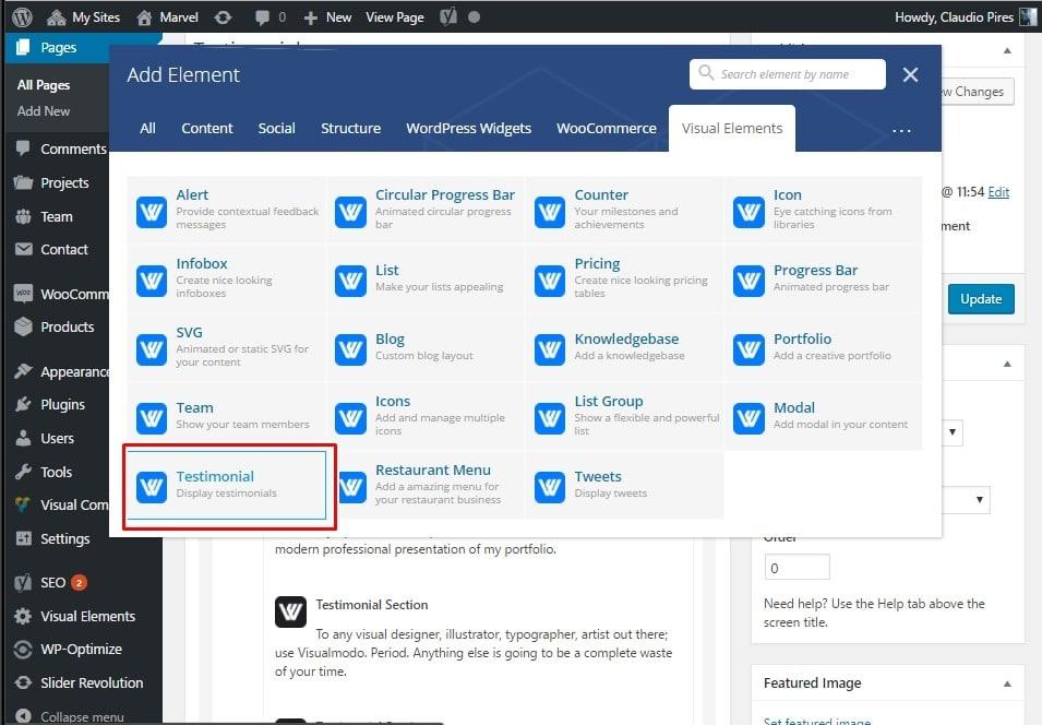 WordPress Testimonial Section - Visual Elements - Visualmodo