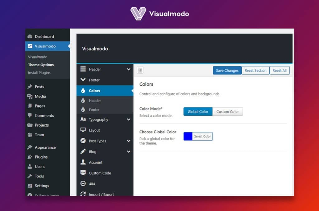 Colors Visualmodo theme options