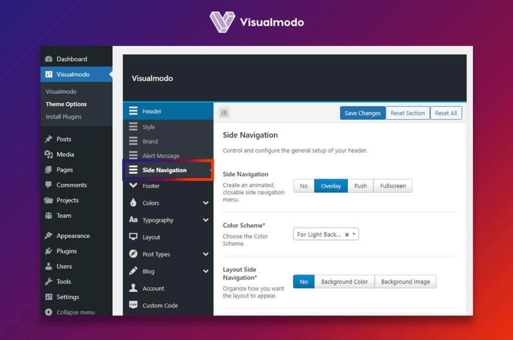 Side navigation options Visualmodo
