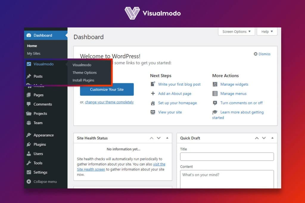 Visualmodo theme options panel - WordPress theme documentation