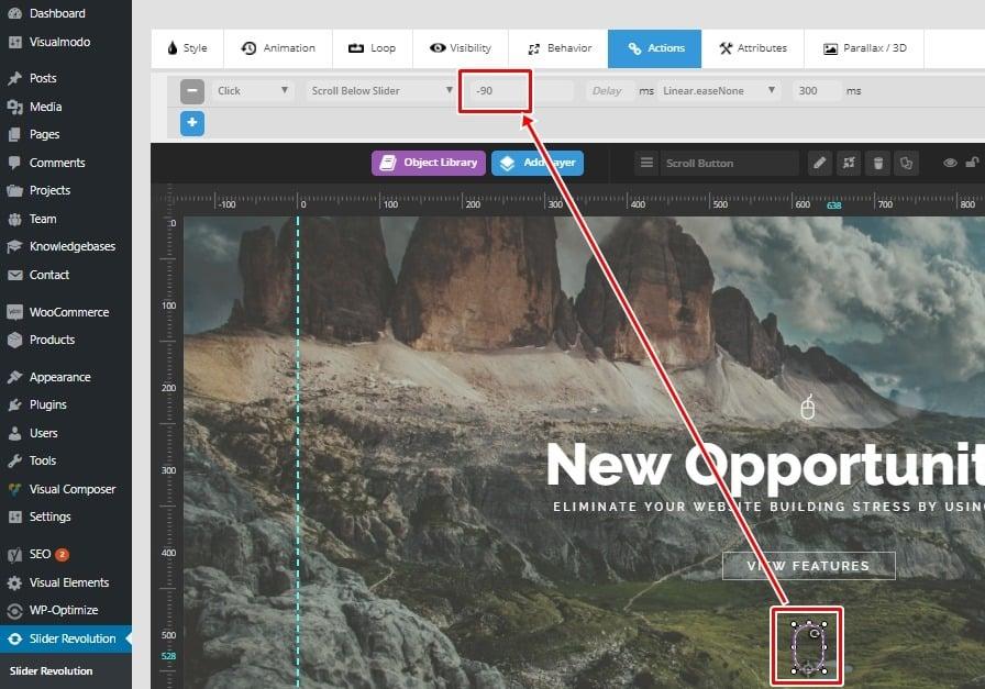 Revolution Slider WordPress Plugin Scroll Down Button