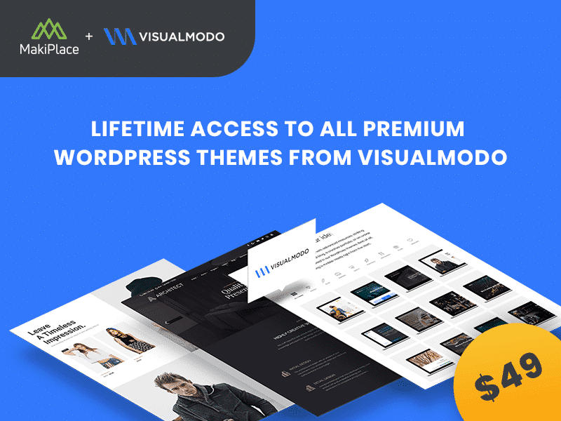 Save 81% - Lifetime Access to All Premium WordPress Themes from Visualmodo for only $49