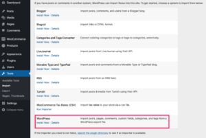 WordPress Import Content From Other Site - Migration