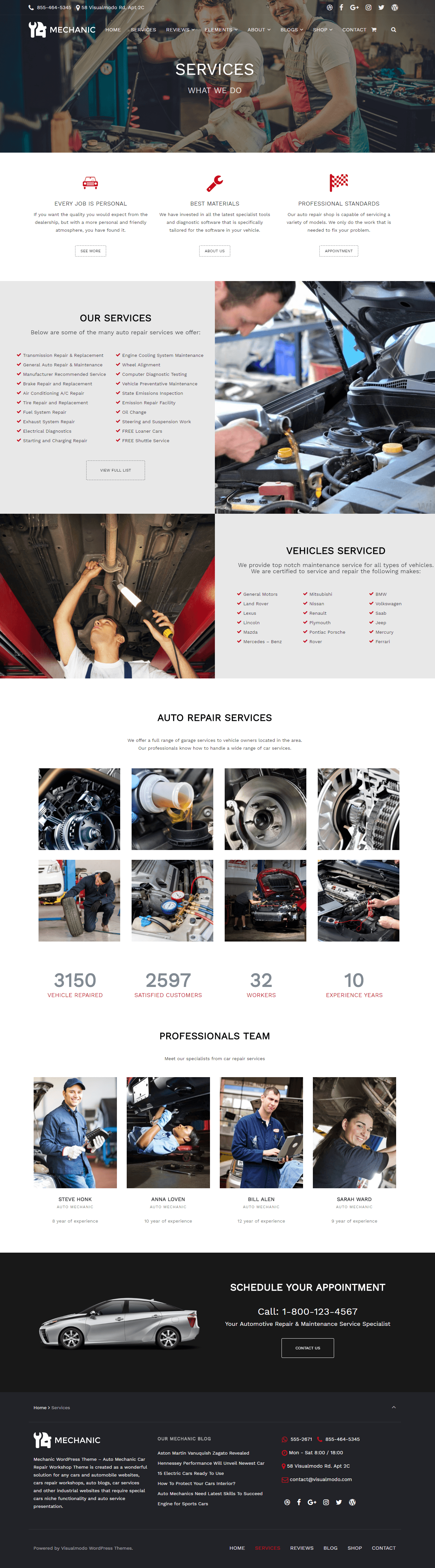 The Best Car Repair WordPress Theme - Mechanic WordPress Theme Services Page