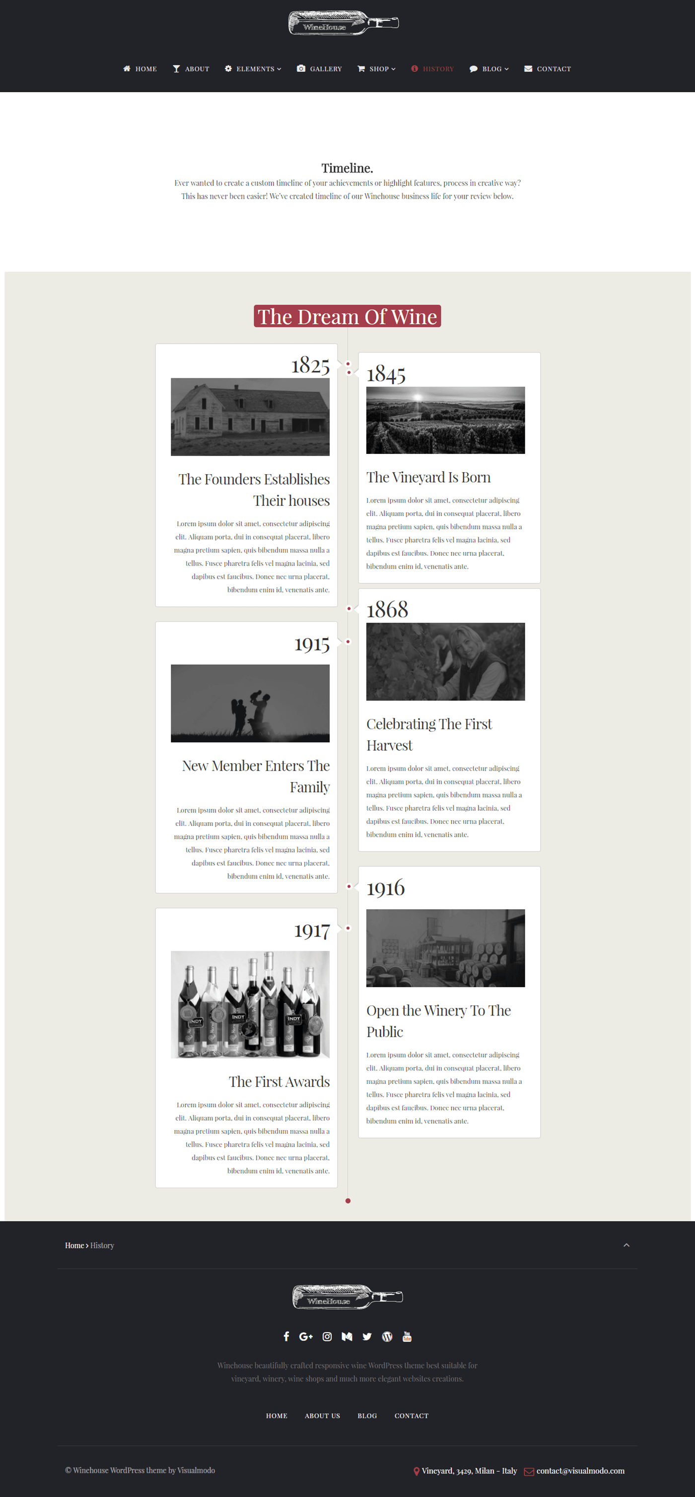 Winehouse WordPress theme - wine WordPress theme - wine business - timeline page