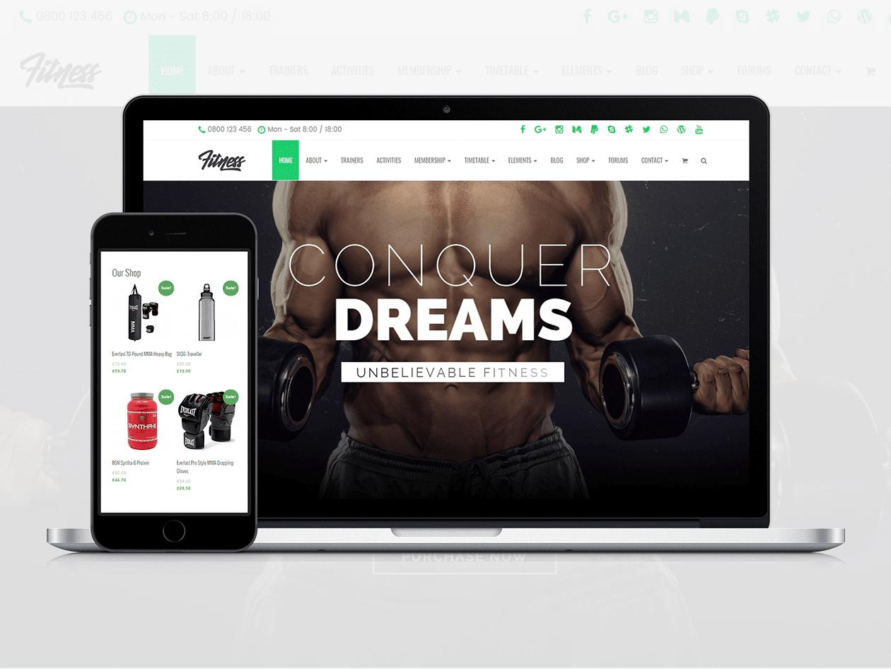 Fitness WordPress theme - gym site builder - health