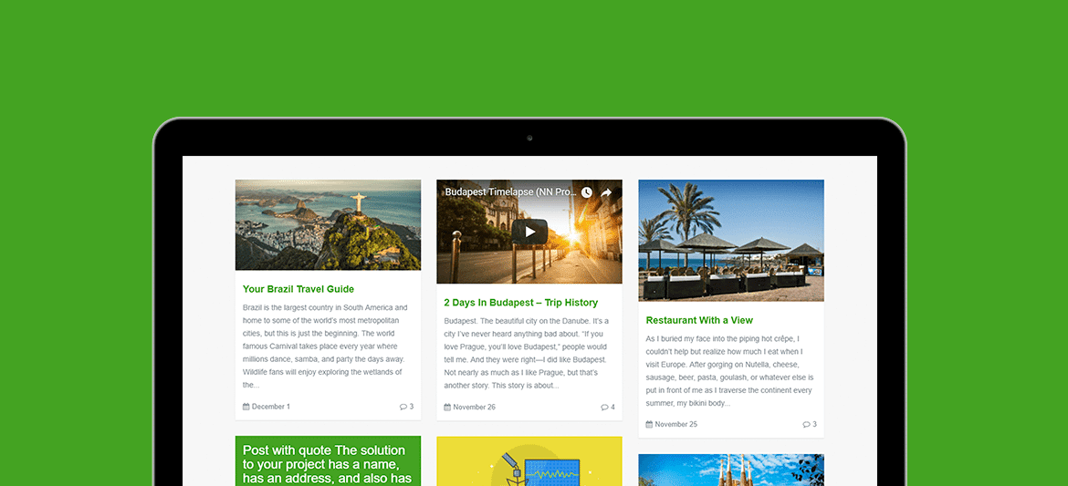Traveler WordPress Theme - Blogger WordPress Site Builder - Blog WordPress Theme by Visualmodo - posts grid