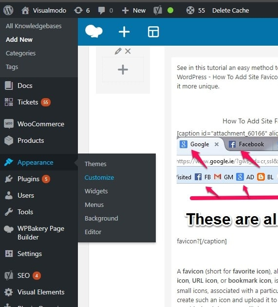 How to add browser tab site icon