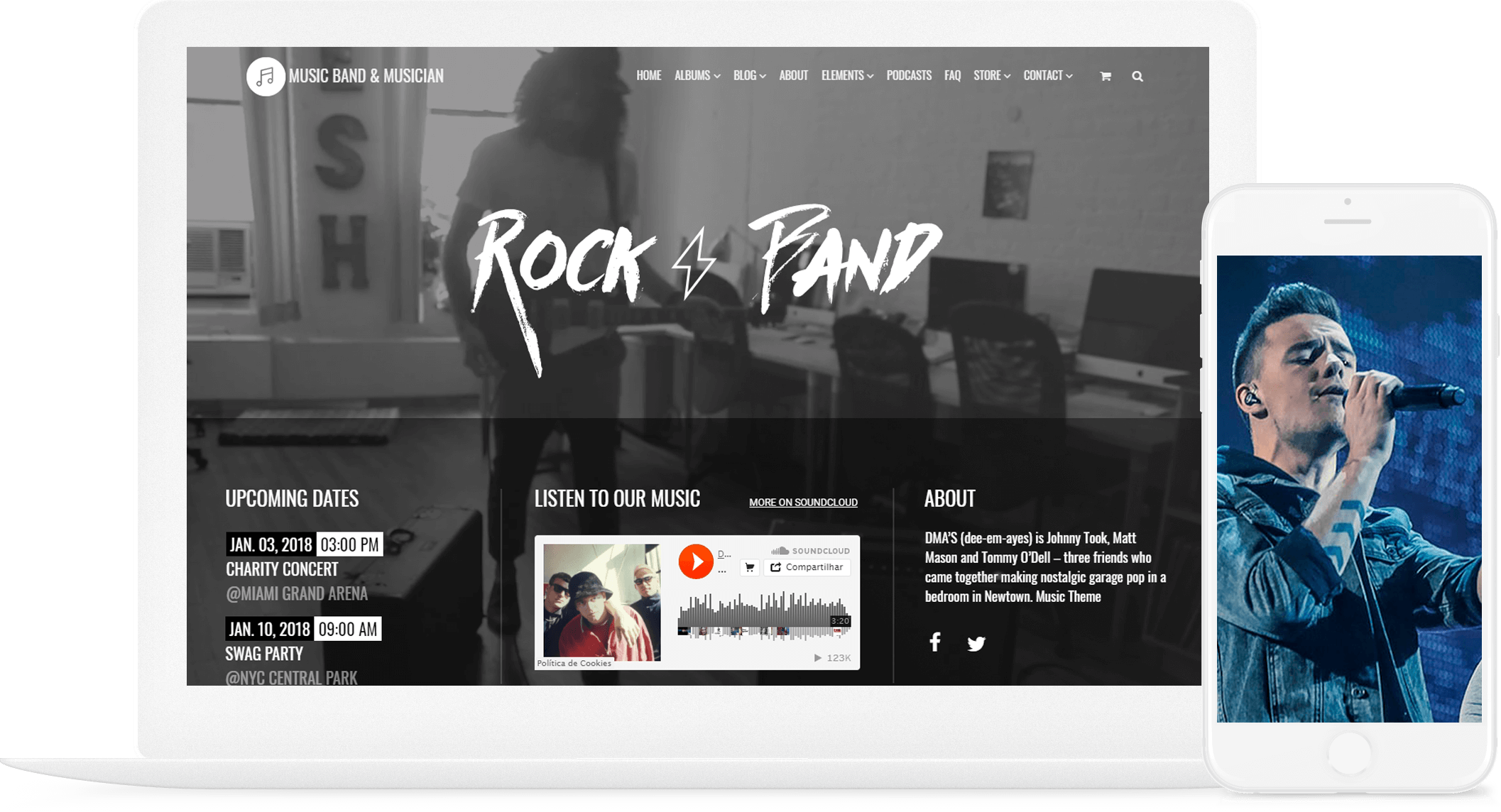 Music wordpress theme music band musician template visualmodo music wordpress theme responsive music band musician template maxwellsz