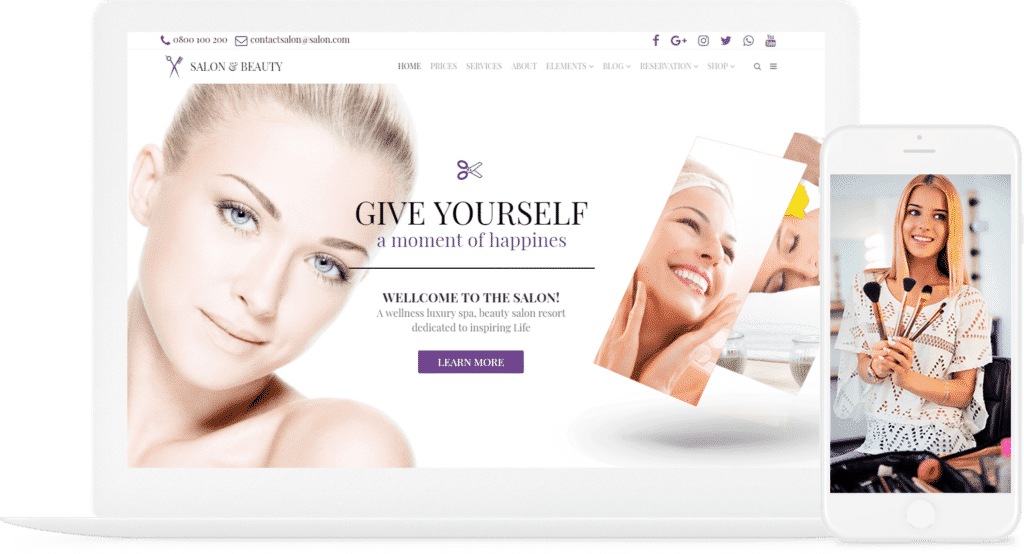 Salon WordPress Theme - Beauty Services Responsive Site Builder