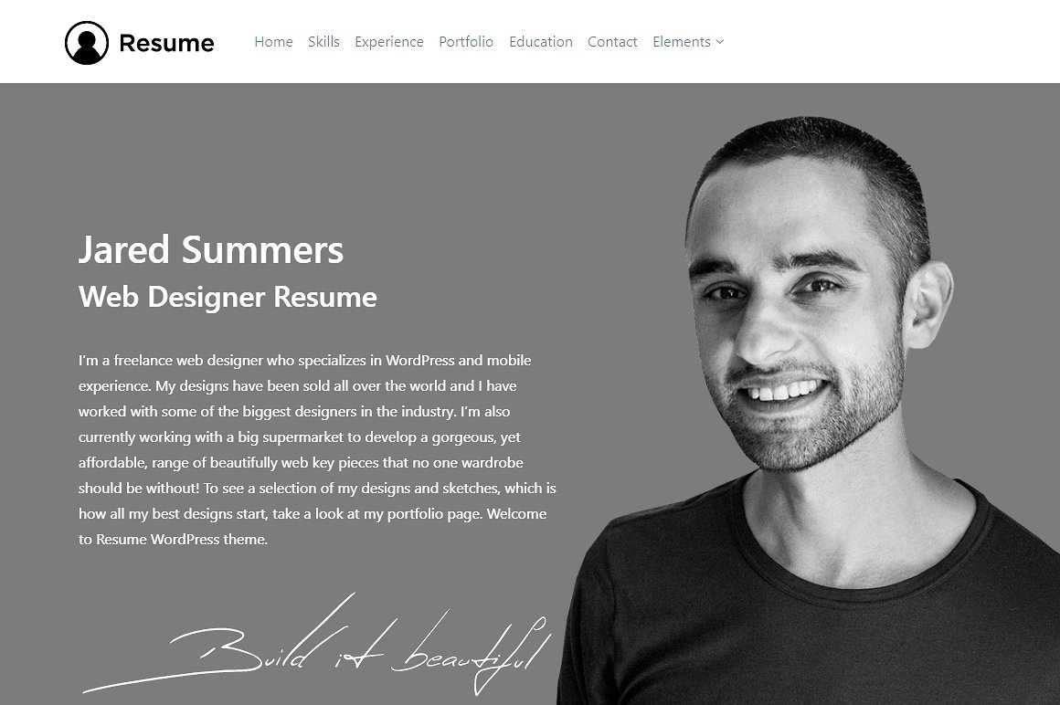 Resume WordPress Theme - About Me Section - CV WordPress Theme