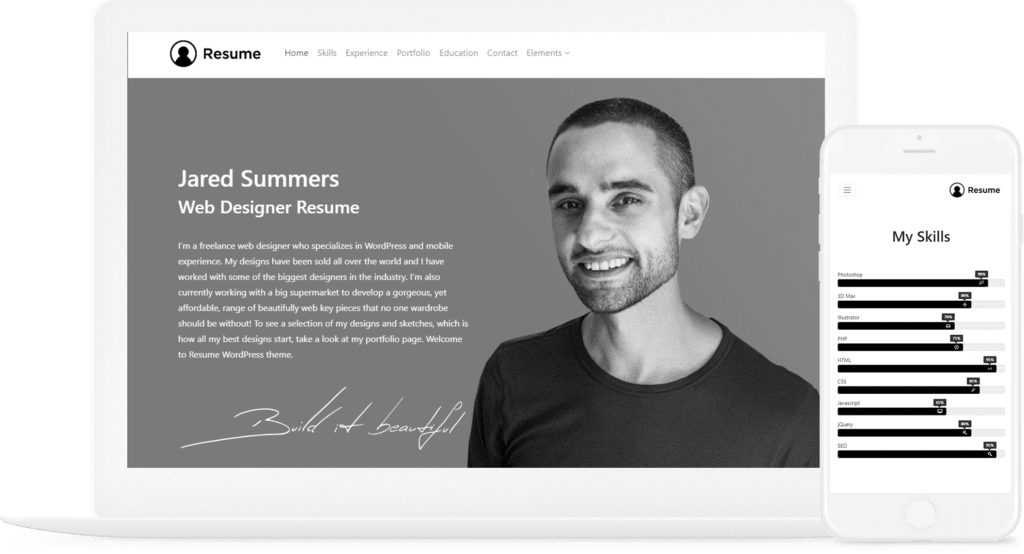 Resume WordPress Theme - CV Website Builder