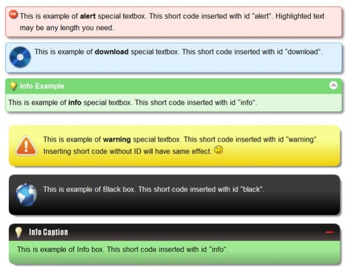 Special Text Boxes WordPress Plugin