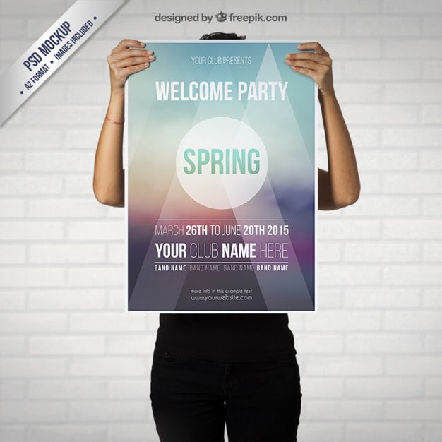 Free Spring Party Poster Mockup by Freepik