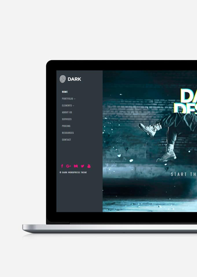 Dark WordPress Theme - Live Website Builder