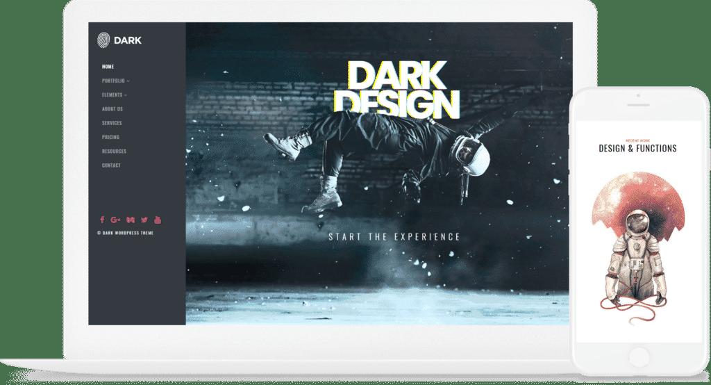 Dark WordPress Theme - Live Website Builder