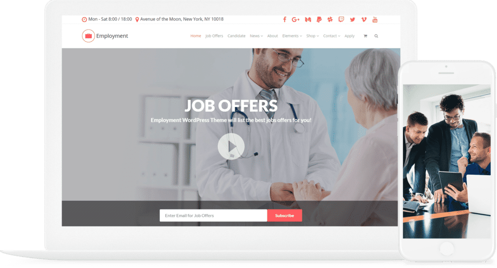 Employment WordPress Theme - Job Portals Websites Builder