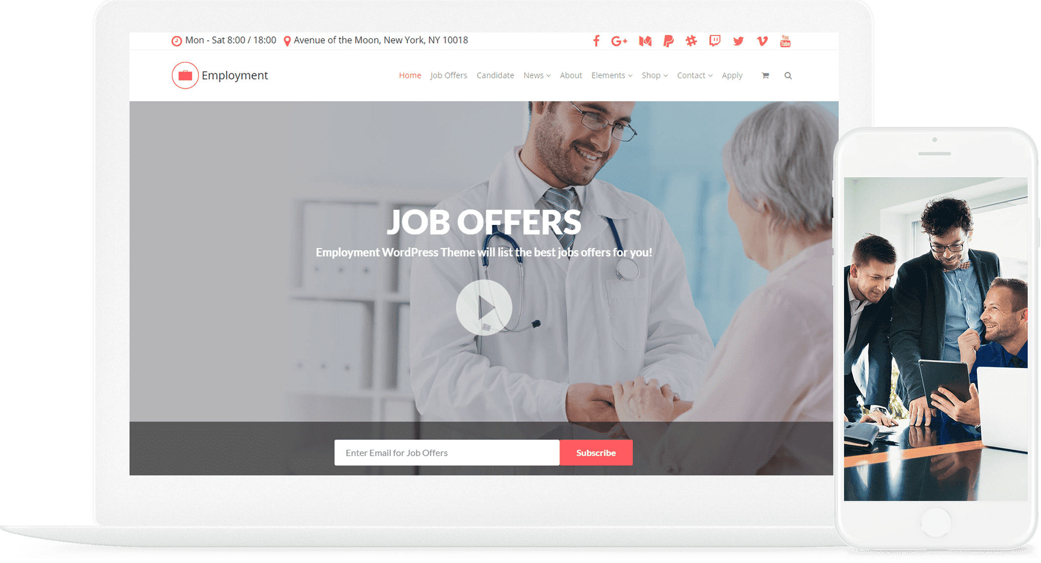 Employment WordPress Theme - Job Portal Template by Visualmodo