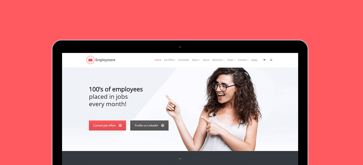 Employment WordPress Theme - Tablet View