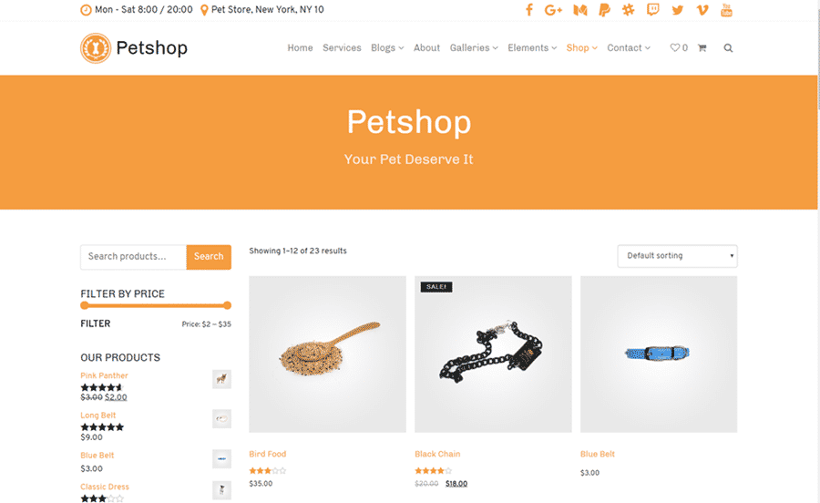 Shop Page - Petshop WordPress Theme