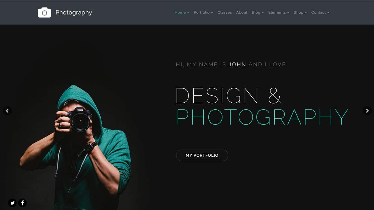 Photography WordPress Theme - Home-Page slider