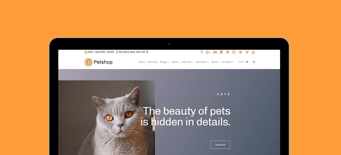 Petshop WordPress Theme - Tablet View