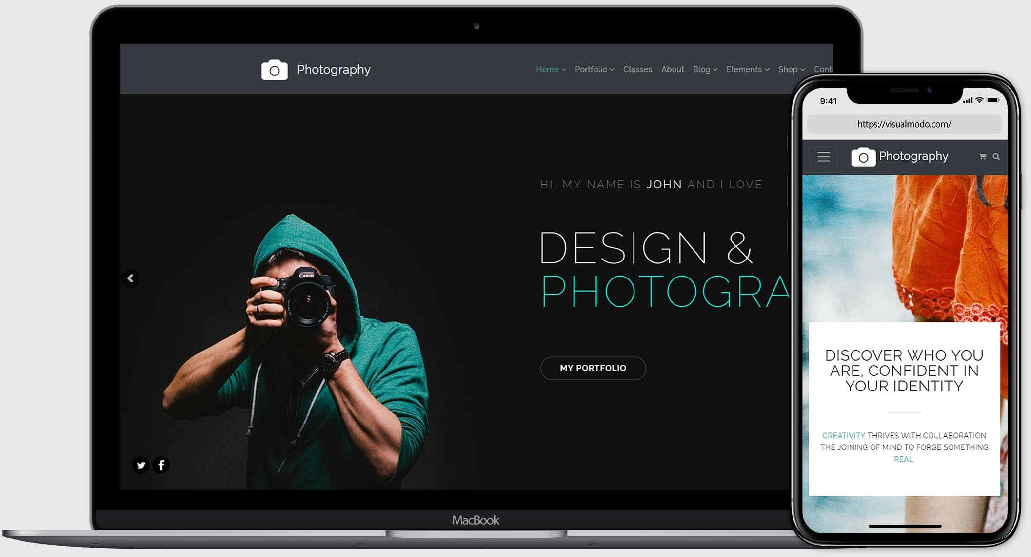 Photography WordPress Theme - Responsive View