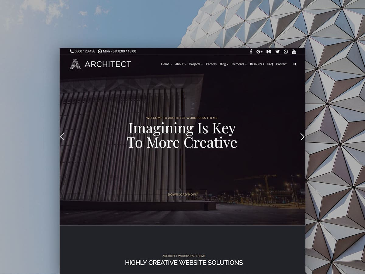 Architect WordPress Theme - Product Front-Page