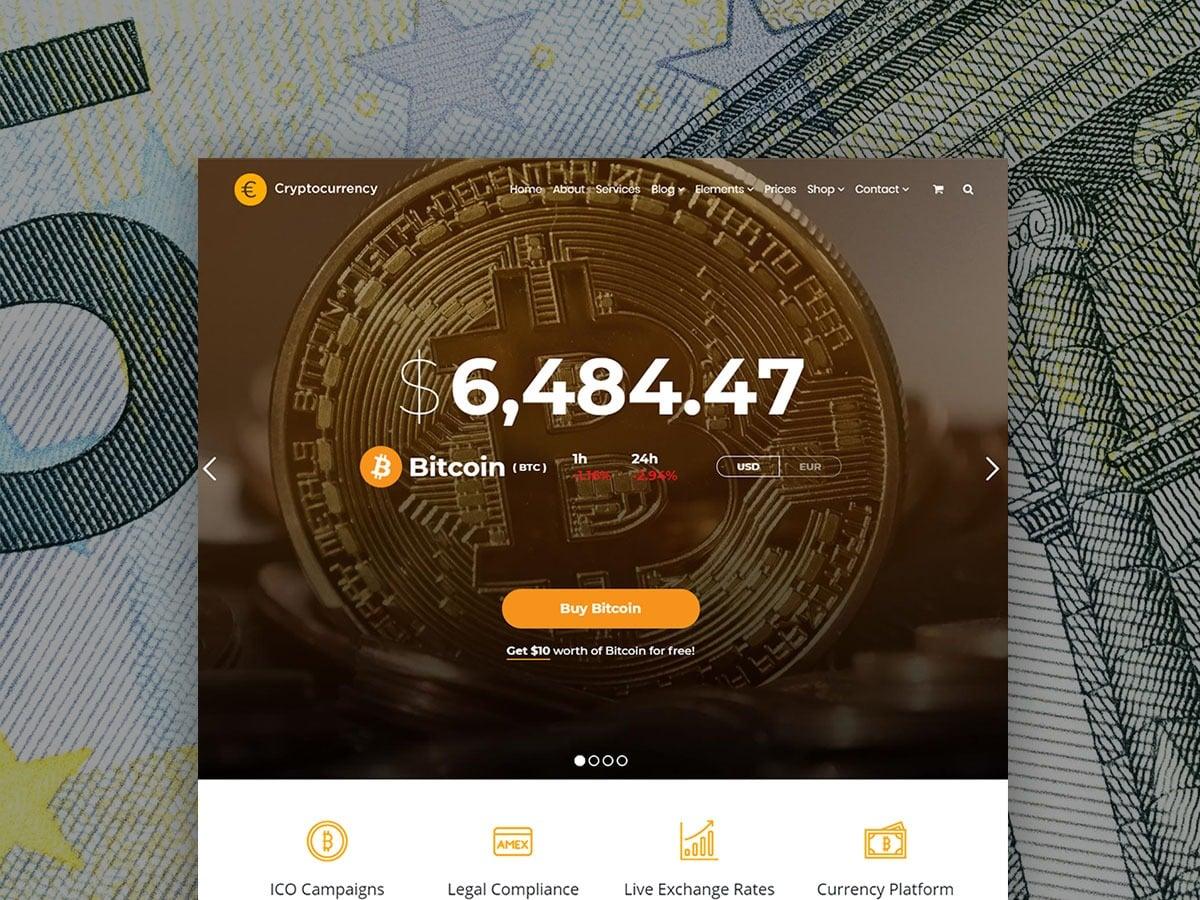 Cryptocurrency WordPress Theme - Responsive Crypto Template