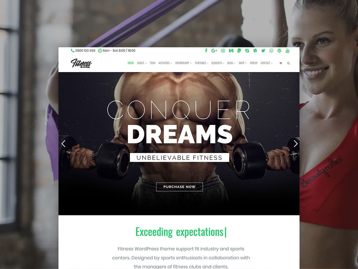 Fitness WordPress Theme - Responsive Site Builder