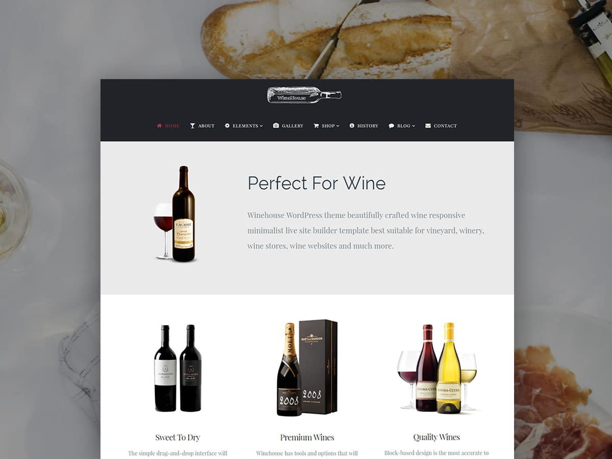WineHouse WordPress Theme – Responsive Wine Site Builder