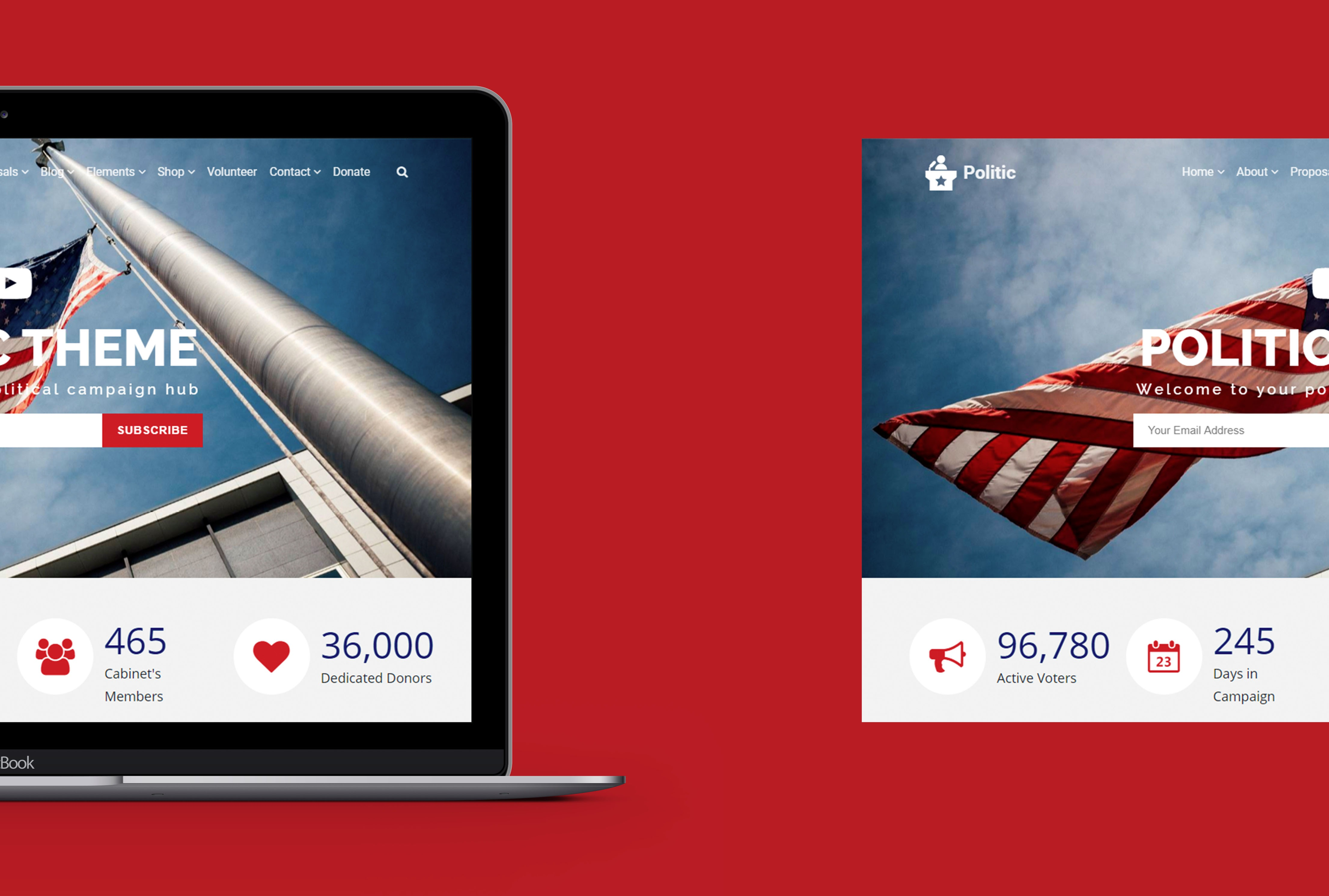 Politic WordPress Theme - Responsive MacBook View