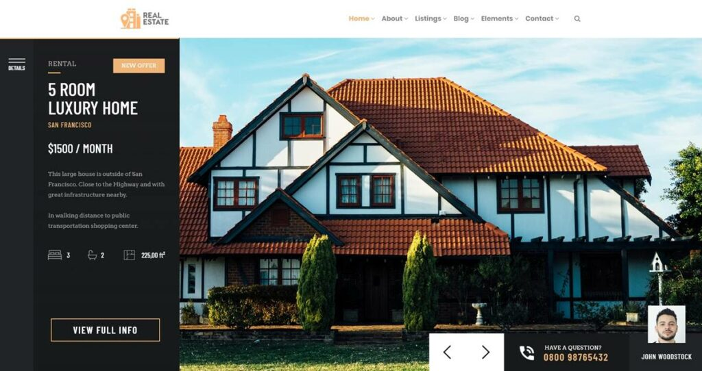 Home Properties Slider - RealEstate WordPress Theme
