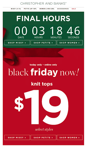 Emails to send on Black Friday itself