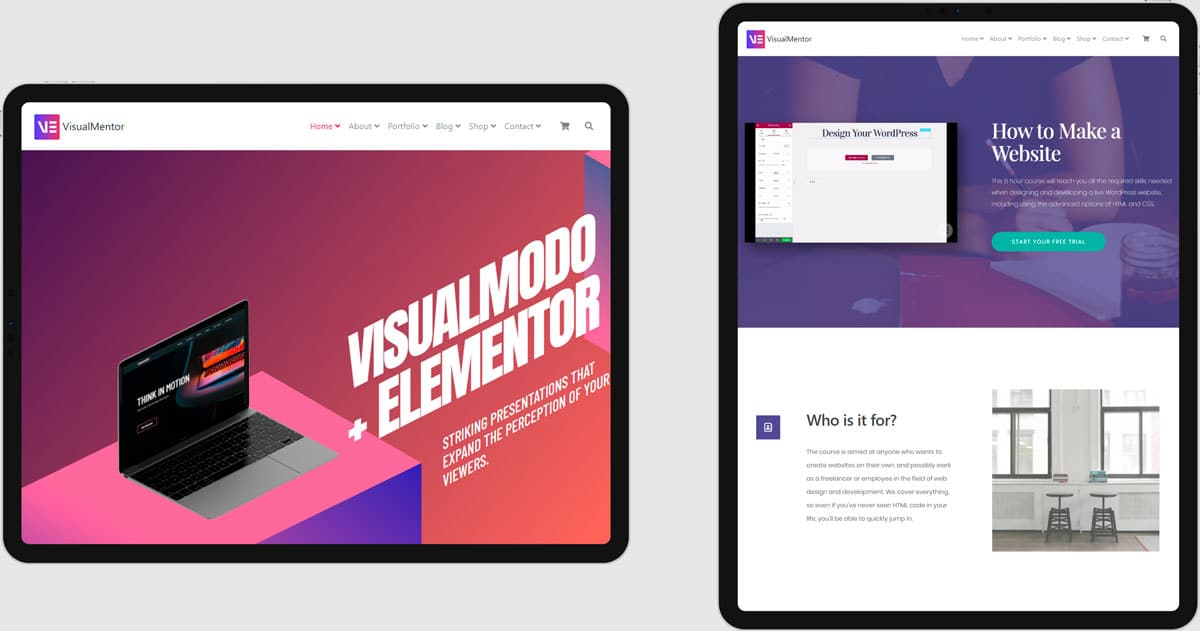 VisualMentor Premium Elementor WordPress Theme - Responsive Tablet View