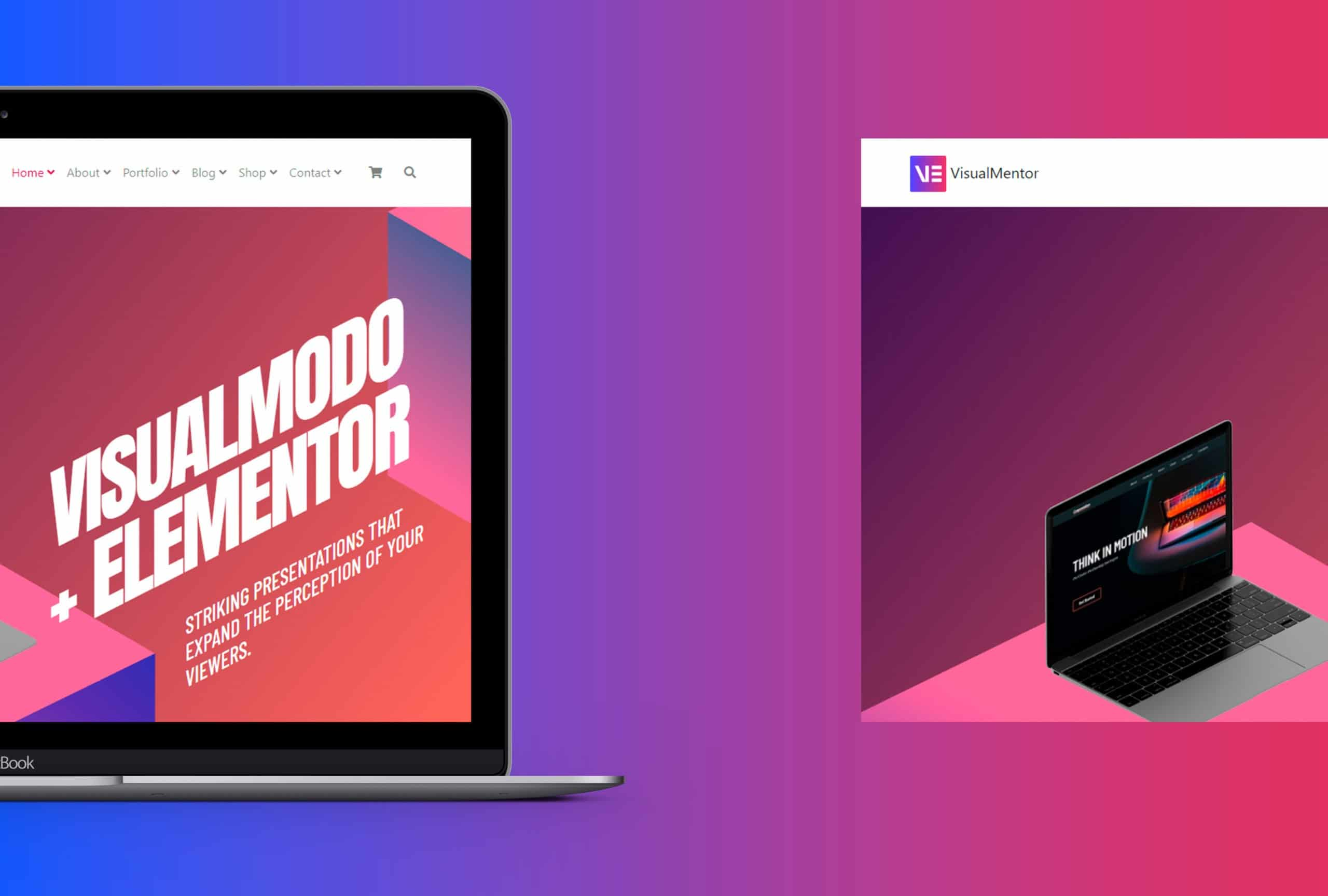 VisualMentor Premium Elementor WordPress Theme - Laptop View